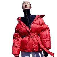 Feather Puffer Jacket 2018 Winter Women Hooded Down Jacket Coat Casual Belt White Duck Down Jacket Overcoat campera D488
