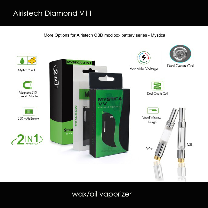 US $10 71 17% OFF|Original Airistech Diamond Magnetic Auto Vaporizer  Electronic Cigarette starter kit with Micro USB Wax atomizers Vape Pen  Kits-in