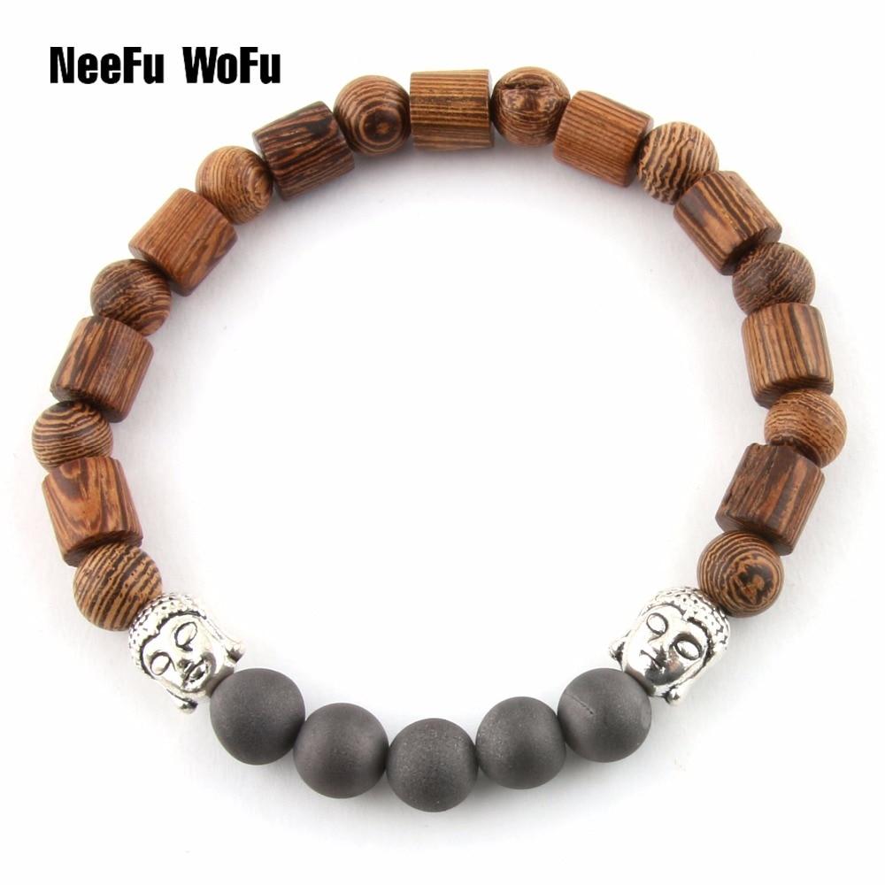 Bracelets Bangles Wooden beads male Buddha bracelet Men Women Natural stone Black ore Lava Balancing Beacon Bodhisattva