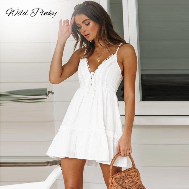 Strap Backless Mini Dress Women V neck