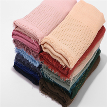 New Womens Cotton Scarf With Diamond Plain Hijab Scarf Female Headscarf Wrap Fringe Crumple Muslim Scarf Shawls And Wraps