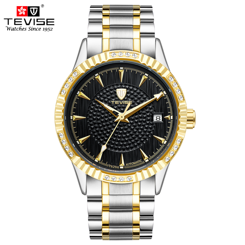 все цены на TEVISE Men Auto Date Watches Mechanical Automatic Self-Wind Watch Luxury Gold Full Stainless Steel Skeleton WristwatchesT629A онлайн