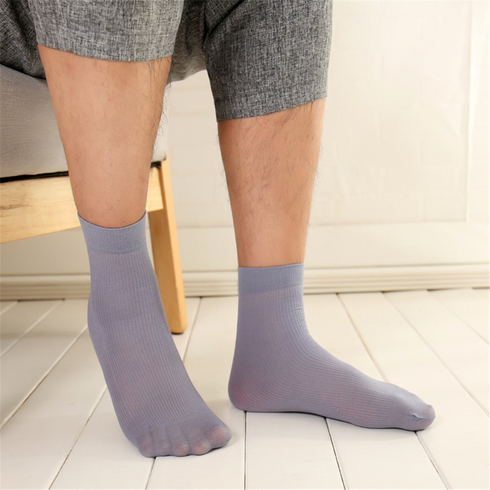 10 Pairs/lot Male Thin Short Socks Men Solid Stretching Crystal Socks, Soft And Breathable Transparent Men Socks Summer One Size