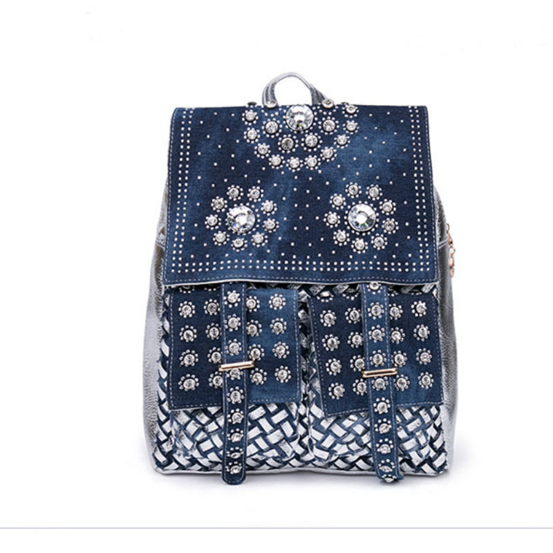 Fashion Diamond Rivet Large Denim Women Backpack Jeans School bags for Teenage Girls Casual Adolescent Youth Children Back Bags ...