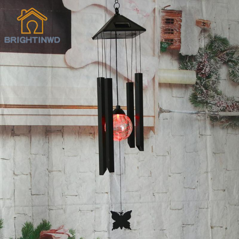 Garden Yard Decoration LED Solar Light Hanging Wind Chimes Solar Powered Color Changing Wind Chimes Rotating Waterproof Lamp solar color changing led hanging wind spinner lamp for courtyard