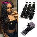 Brazilian Deep Wave 3 Bundles With Closure 8A Brazilian Deep Curly Virgin Hair With Closure Curly Weave Human Hair With Closure