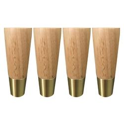 4 szt. Guma drewno nóżki do mebli stół Sofa szafka prosty styl stopy z żelaznymi płytkami śruby 125x48x28mm w Nogi meblowe od Meble na