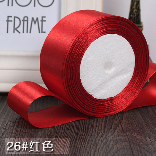 25 ярдов/рулон 6 мм, 10 мм, 15 мм, 20 мм, 25 мм, 40 мм, 50 мм, шелковые атласные ленты для рукоделия, швейная лента ручной работы, материалы для рукоделия, подарочная упаковка - Цвет: Red