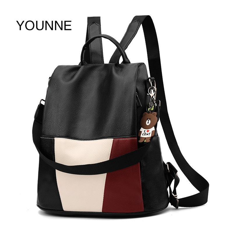 YOUNNE Women Waterproof Anti-Theft Backpack Soft PU Leather Schoolbag For Travel Teenage Backpacks For Women backpacks 2019