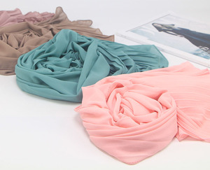 Image 5 - New long scarf Patchwork Popular bubble chiffon Scarf Wrinkle hijab pearl Pleat Scarf stitching Muffler muslim scarves