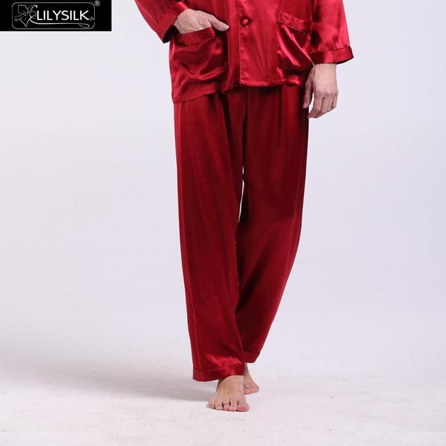 Lilysilk Male Pajamas Pants 100% Silk Pure Sleep Wear Bottoms Men 22 Momme Brand-clothing Claret Long Pant Home Lounge Winter