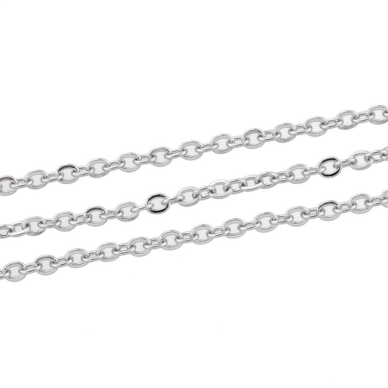 10M Silver Tone Stainlesss Steel Link-Opened Cross Chains Findings 5x3.5mm
