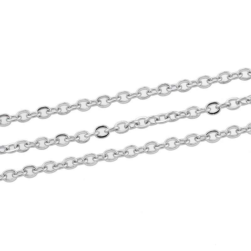 Valyria 10M Silver Tone Stainless Steel Links-Opened Links-Soldered Cross Cable Curb Chains Jewelry Findings