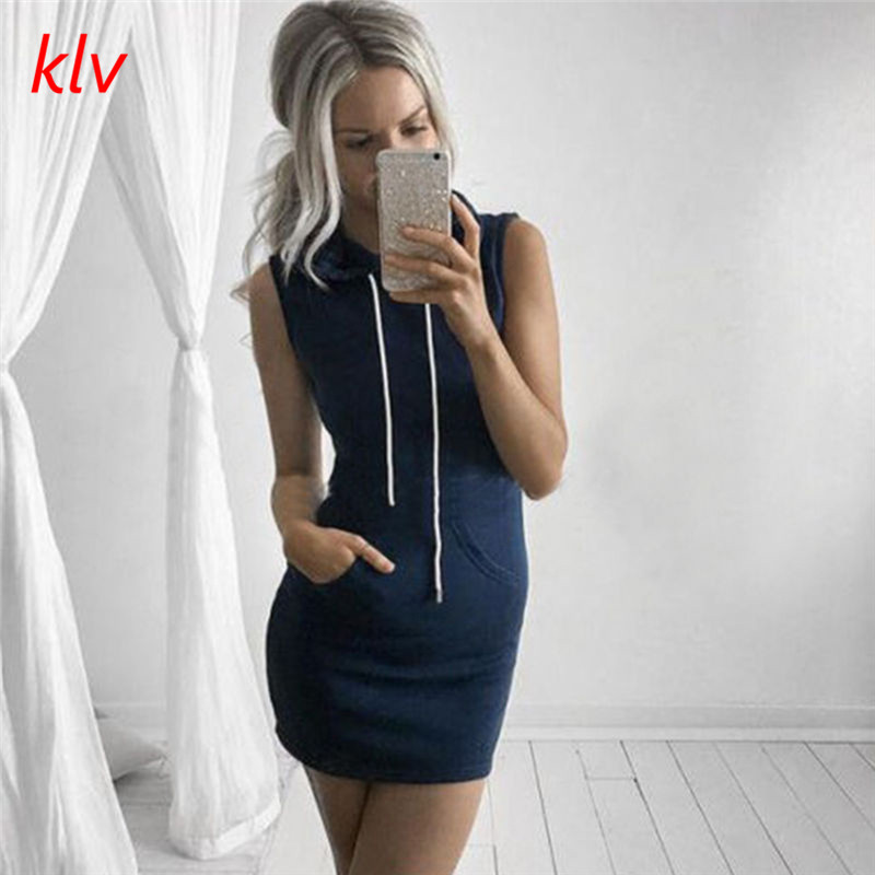 KLV 2017 new Fashion Women Summer Boho Hooded Bodycon Sleeveless Sexy Party Cocktail Mini Black Striped T-Shirt