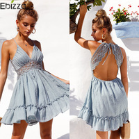 620389ad4e Ebizza Sexy Lace V Neck Backless Hollow Out Dress Women Strap Sleeveless  Short Summer Dress Ruffle