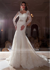 Image 2 - Gorgeous Tulle Queen Anne Neckline Mermaid Wedding Dresses with Lace Appliques 3/4 Sleeves Bridal Gowns with Beading Sash