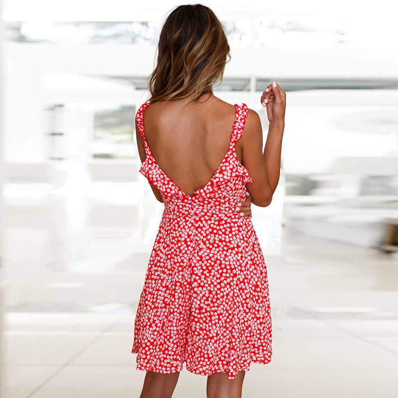 Новые женские сексуальные цветочные печати v-образным вырезом Мини платья для вечеринок Лето Весна Femme Vestidos оборки Спагетти ремень пляжное солнце платье