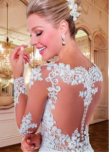 Image 5 - Alluring Tulle Bateau Neckline See through A line Wedding Dresses With Beaded Lace Appliques Long Sleeves Bridal Gowns