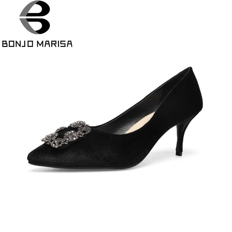 BONJOMARISA New women's Flock Thin High Heels Crystal Pointed Toe Solid Shallow Shoes Woman Casual Spring Pumps Big Size 34-43 moonmeek new arrive spring summer female pumps high heels pointed toe thin heel shallow party wedding flock pumps women shoes