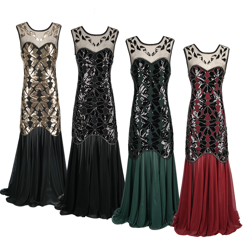 CQ01 Black green Red 20s Gatsby Abbey Flapper Dress Wedding Evening Party Bridesmaid Costume evening party dress