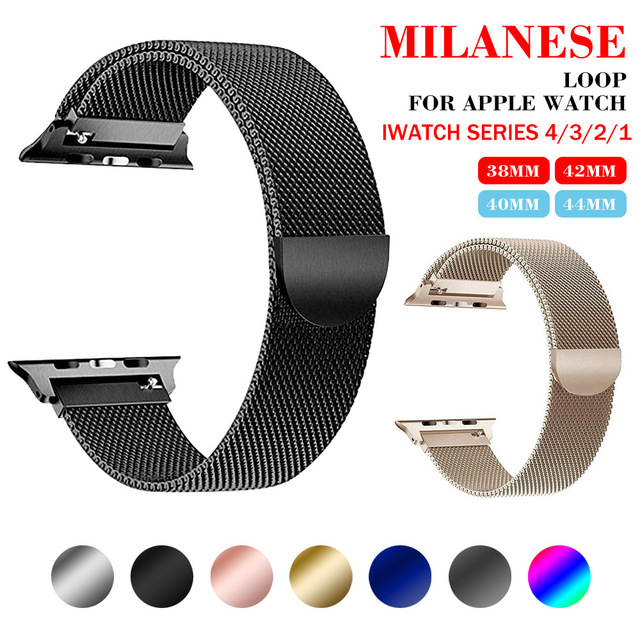 85d6df22e467 Correa de malla milanesa para Apple Watch de 38 42 mm Series 1 2 3 ...