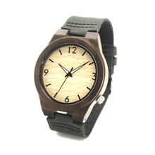 BOBO BIRD Fashion Genuine Cowhide Leather Luxury men Watches Lumious Hands Natural Black Bamboo Wood Wristwatch