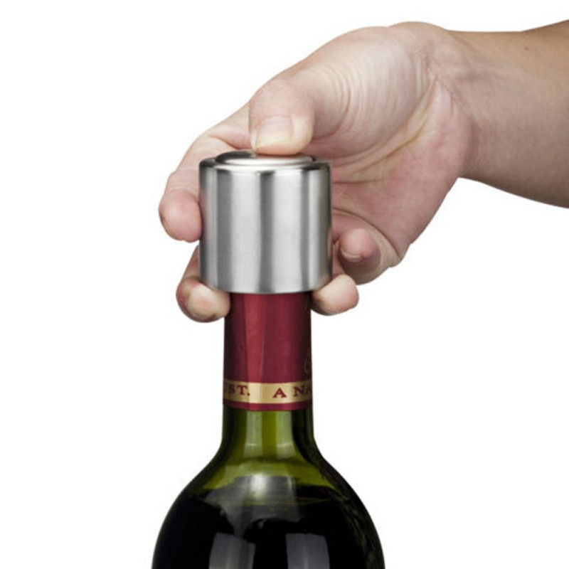 Sale New Stainless Steel 2016 Vacuum Sealed Silvery Bottle Cap Opener Wine Tool Red Wine Storage Bottle Stopper