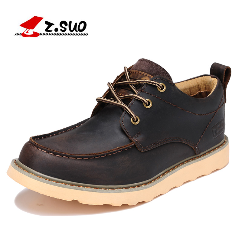 Z. Suo men's shoes, leather casual shoes to help low male fashion retro rubber sole shoes tooling .zapatos casuales zs808 радиомагнитола cd supra bb cd101