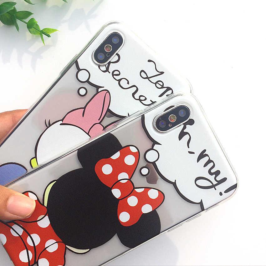 8c80c0f6e73 ... Dibujos Animados Mickey Mouse suave TPU silicona transparente funda de  teléfono para Apple iPhone X XS ...