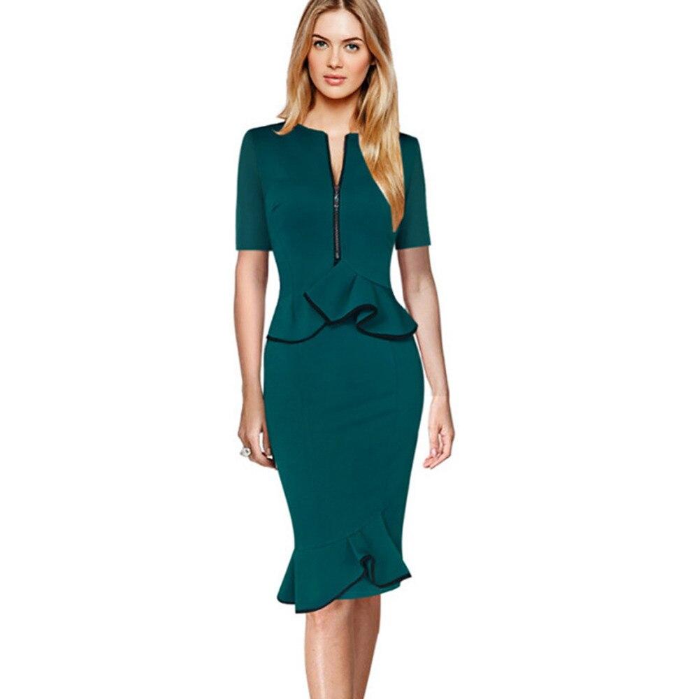 Oxiuly Blue Dress For Woman 2016 Spring Fashion Elegant -4901
