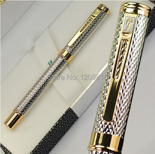 Luxury Stationery Executive Office Supplies Crocodile 218 Fountain Pens  Unique Desigh Silver Raised Writing Brand Gift