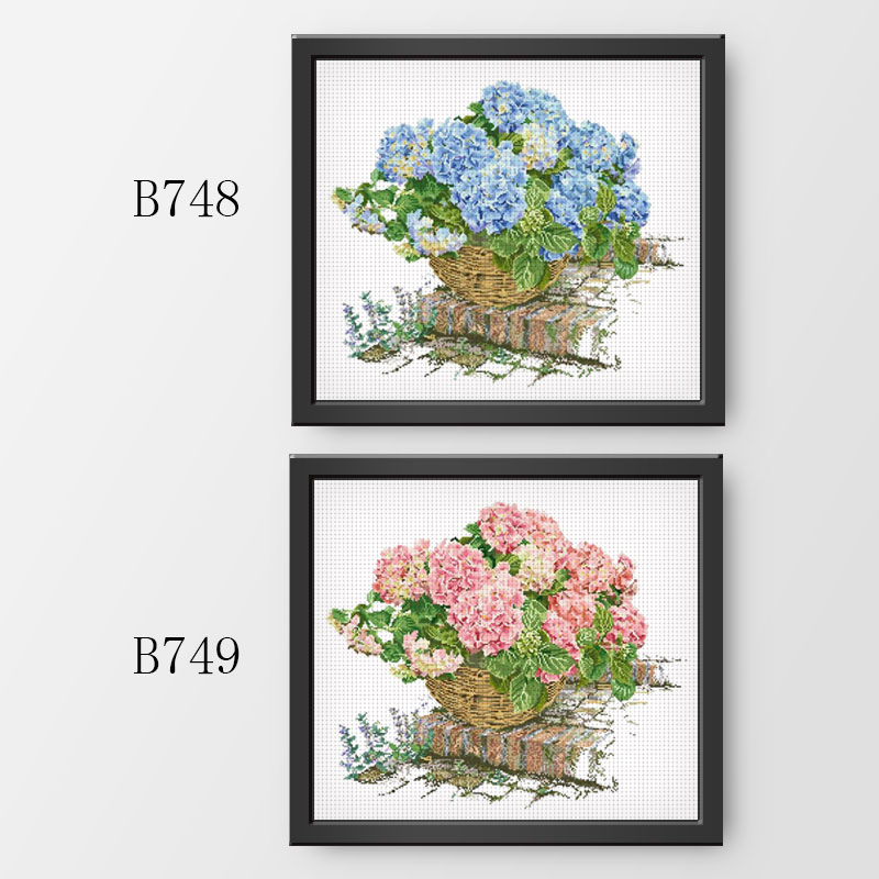 Fishxx Cross Stitch Kit B748 749 Hydrangeas In Blue And Pink Bamboo Basket Garden Plant Flowers