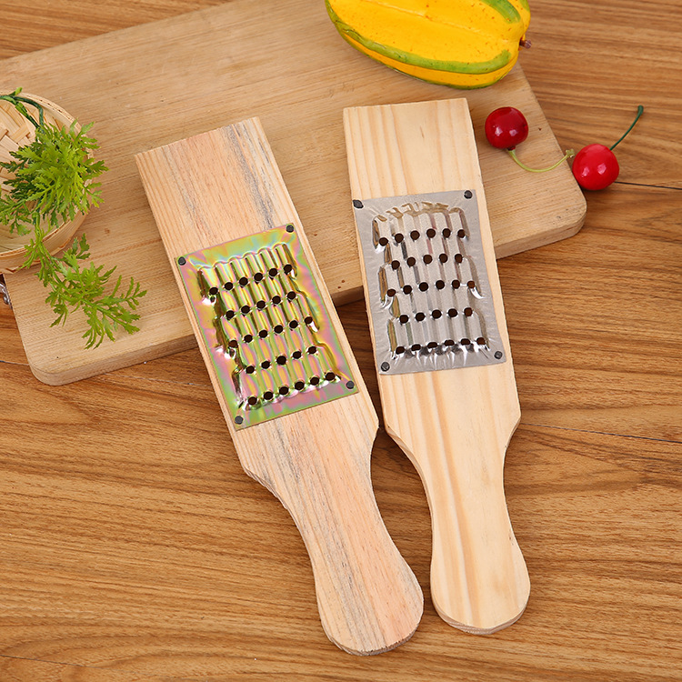 1PC Carrots Grater Wooden and Stainless Steel Potatoes Grater Onion Slicer Fruit Vegetable Tools Kitchen Gadgets OK 0763