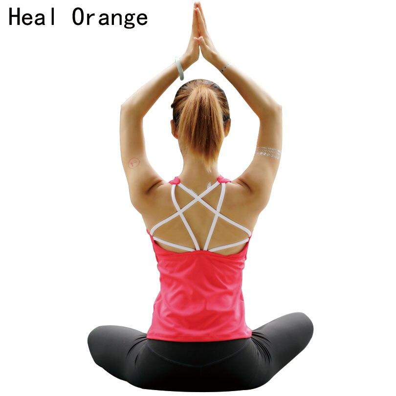 HEAL ORANGE Women Yoga Shirts Solid Sexy Backless With Pad Running Shirt Tank Tops Sports Yoga Tshirt Fitness Crop Gym Top Women