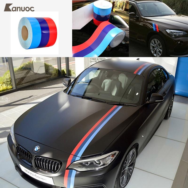 Car Sticker Car-Styling Decoration 3-Color Car Body Hood Decal For BMW M3 M5 E36 E46 E60 E90 Accessories 1.2m/1.5m/2m/3m/4m/5m