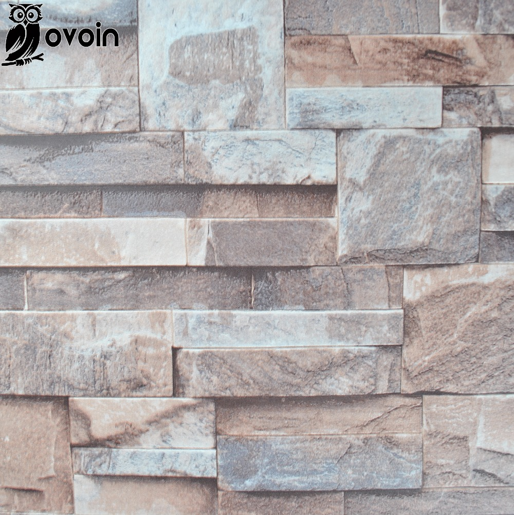 Vinyl brown grey beige nature emboss 3d stone wall for 3d brown wallpaper