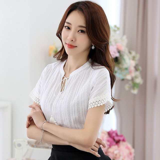 e3af34aad placeholder Blusa de Algodão mulheres Verão Camisa de Manga Curta Laço das  Mulheres Elegantes Camisas de renda