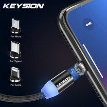 Магнитный зарядный кабель KEYSION 1 м, кабель Micro USB для iPhone XR XS Max X, Магнитный зарядный кабель USB Type-C, светодиодный зарядный провод