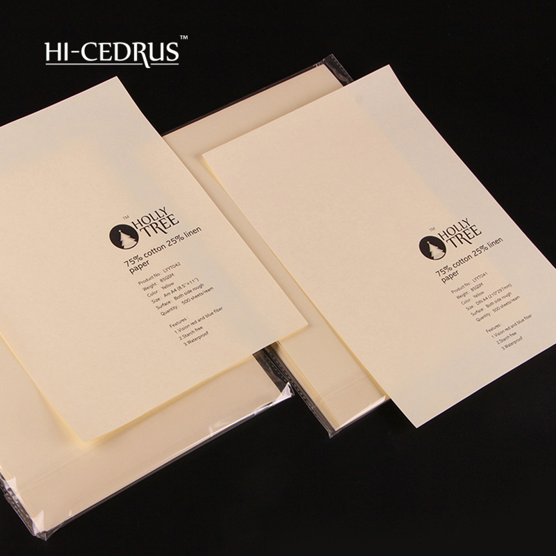 Papel A4 500 Folhas, 75% Cotton 25% Linen Security Paper 210mm*297mm 85gsm ,ivory  Color With Red And Blue Fiber