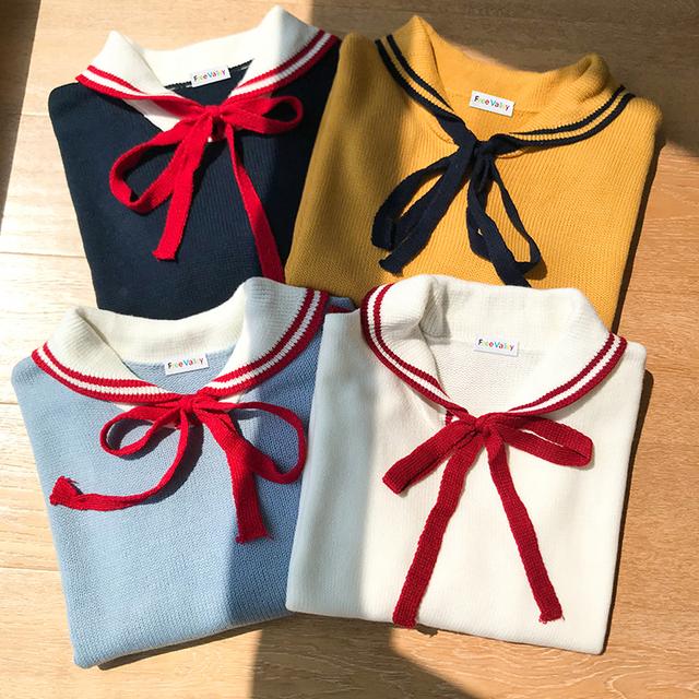Kawaii Acrylic Sweater with Turn-Down Collar