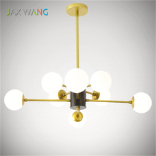 LED Round Glass Nordic Postmodern Minimalist Living  Chandelier Creative Iron Industrial Wind Study Bedroom Restaurant