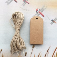 100pc L Blank Brown Kraft Paper Label Squre Shaped Marked Blank Card Hang Tags Wedding Decoration