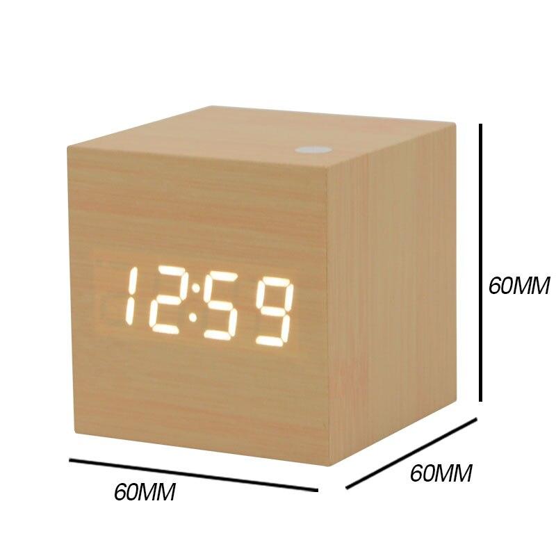 a046bd4ef8c Cubo de bambu De Madeira LED Digital Relógio Despertador Calendário Temperatura  Soa Controle Display LED Eletrônica Digital Relógio De Mesa Quadrada em ...