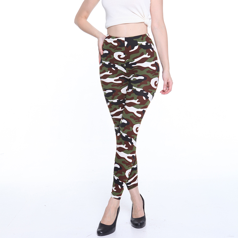 ⊹Polainas de las mujeres de Color sólido Top moda Slim Leggings - a896