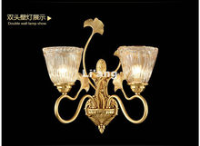 Free Shipping Brass E14 European Classical Golden LED Brass Wall Lamp Brass Wall Sconce With Shade Modern Brass wall lamp Lustre(China)