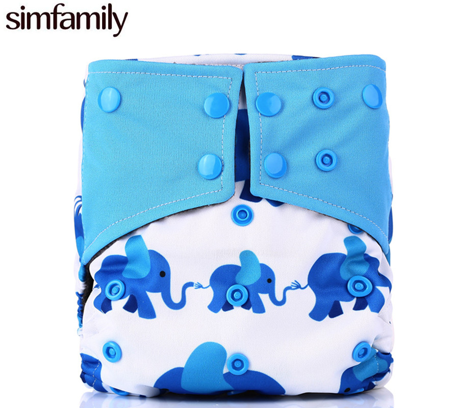 [simfamily]1pc Washable Baby Cloth Diaper Reusable Printed PUL Baby Diapers Waterproof Nappy suede cloth Inner Double Gussets