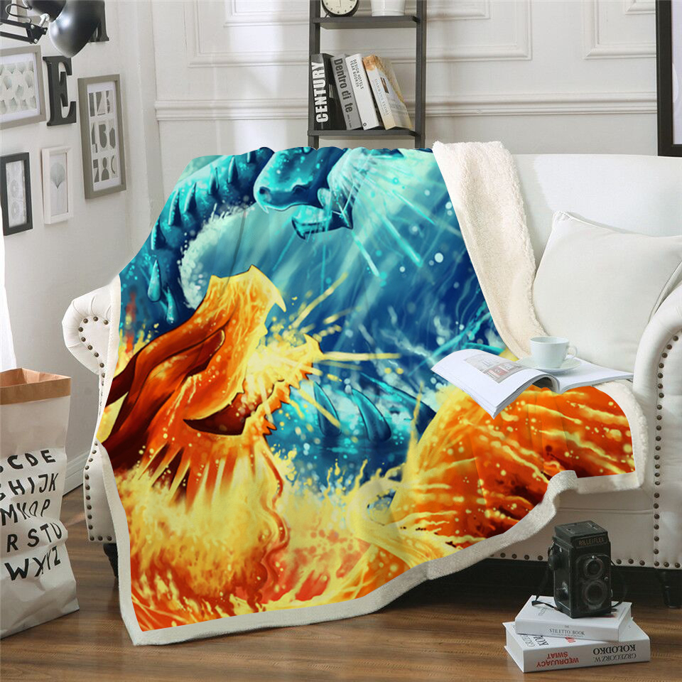 New 2019 Ice Fire Dragon Printed Velvet Plush Throw