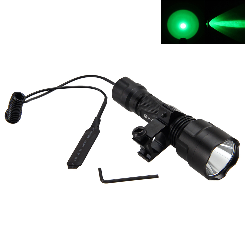 C8 Green LED Tactical Flashlight Hunting Torch Light +Remote Pressure Switch+Gun Mount +2400 mAh Rechargeable Battery+Charger 502d led tactical gun flashlight handgun torch light lamp hunting torch remote switch gun mount