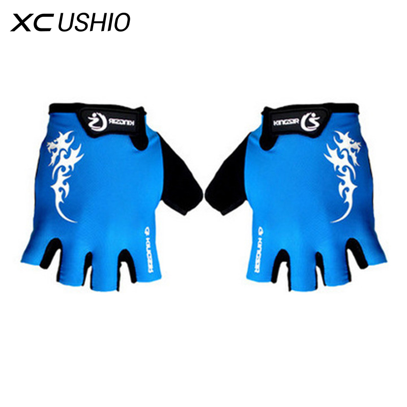 1 Pair Outdoor Sport Gloves Summer Cycling Bike Bicycle Riding Gym Fitness Half Finger Gloves Shockproof Mittens M/L/XL qepae 043a outdoor cycling half finger gloves black red l pair