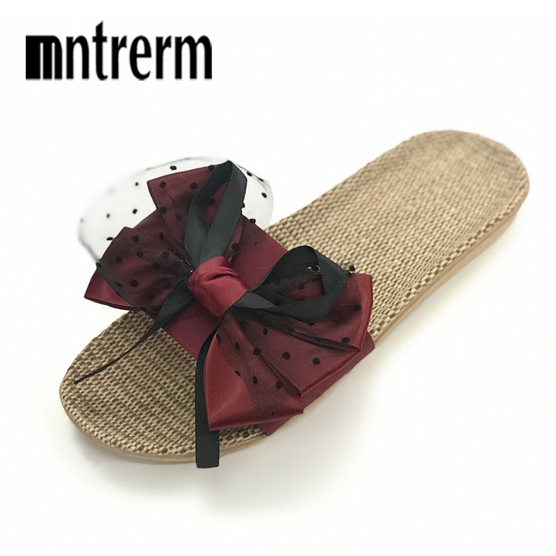 2019 New Summer Home Slipper Women Indoor Bedroom Flax Slipper Lovers Beach Flat Shoes Cute Candy Color House Linen Slippers